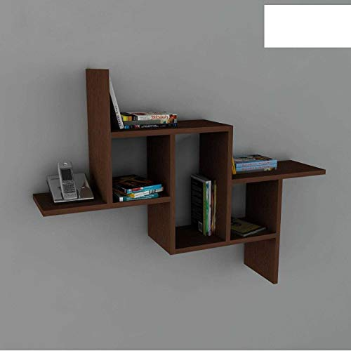 Alphamoebel 1844 Step Wandregal Hängeregal dekoratives Regal Bücherregal für Wohnzimmer, Walnuss Braun, Holz, 6 Regalfächer, Designerregal, 107 x 81 x 22 cm