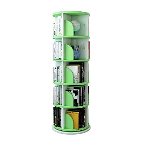 Zeitungsständer Bücherregal Wohnzimmer Bücherregal nach Hause Fußboden Platzsparend Bücherregal Kinderbilderbuch-Rack Einfache Drehregale Xuan - Worth Having (Color : Green, Size : Five Layer)