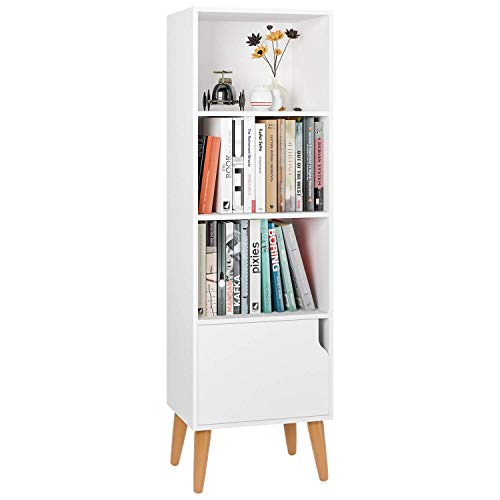 Homfa Bücherregal Bücherschrank Kinderregal Raumteiler Standregal Büroregal Regal mit Tür weiß 40 x 30 x 129.5cm
