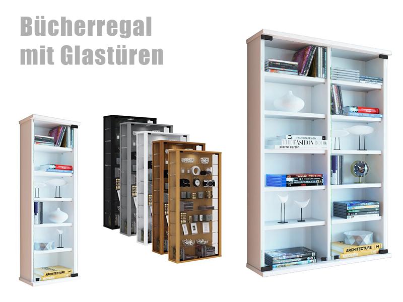 Bücherregal mit Glastüren